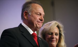 Lindsey Graham called Donald Trump's backing for Roy Moore, above, a 'political decision'.