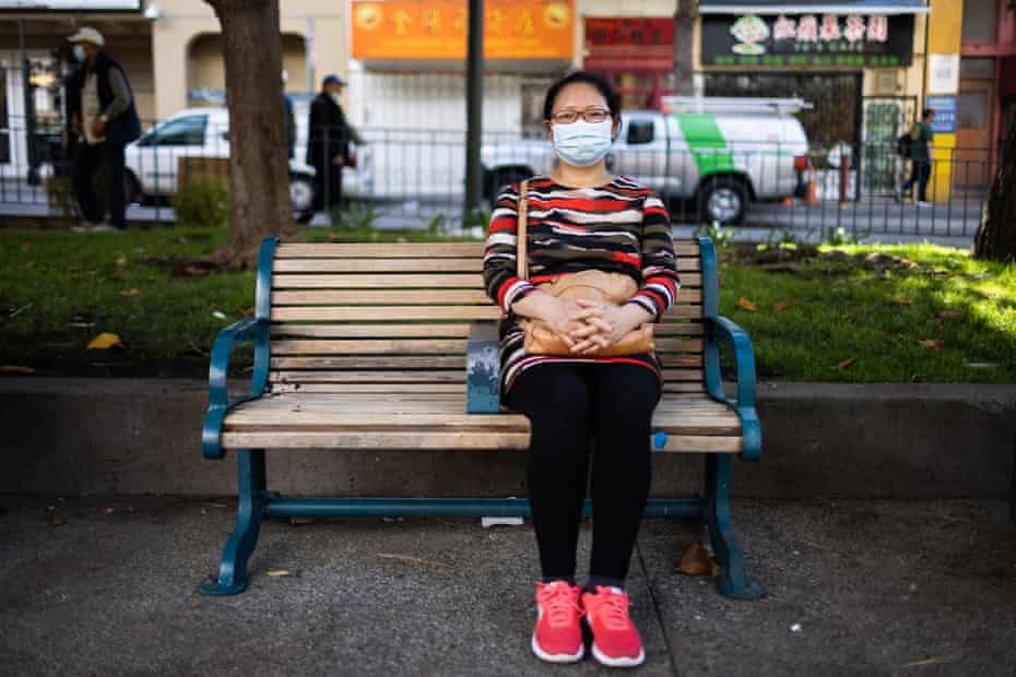 Yan Yu Lin poses for a portrait in San Francisco's Chinatown on 2 August 2021. Lin lives in a SRO apartment and struggles with substandard plumbing.