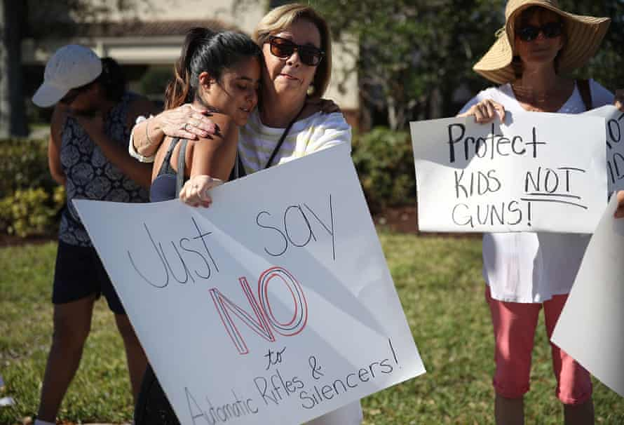 A gun-control rally in Parkland, Florida, on 17 February.