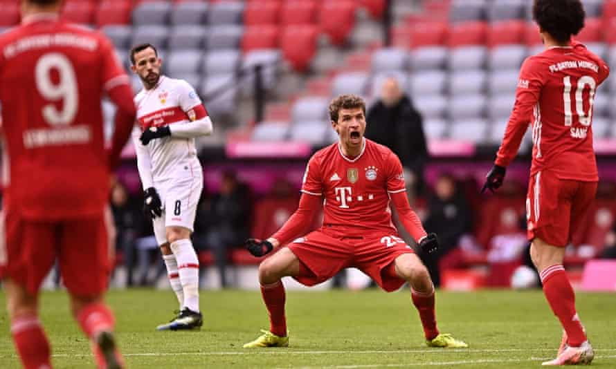 Thomas Müller celebrates during Bayern's win over Stuttgart earlier this month.