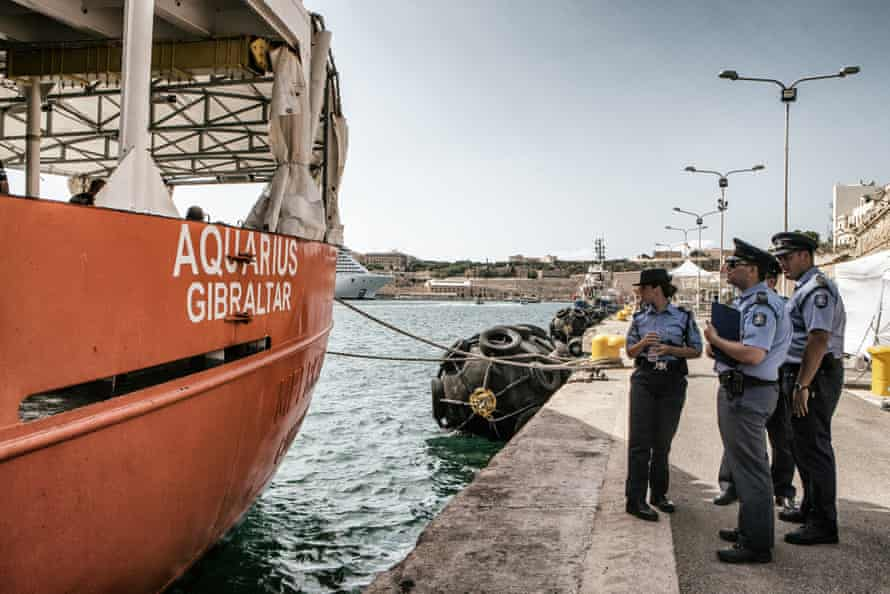 Maltese officials are there when the Aquarius docks at the port of Valletta