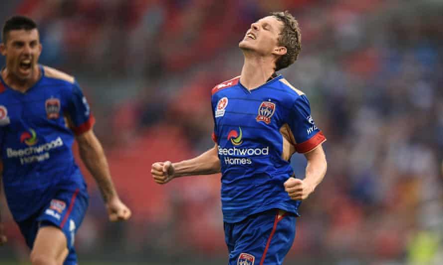 Danish striker Morten Nordstrand celebrates
