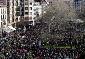 Thousands at a rally marking International Women's Day in San Sebastian, Basque Country, Spain