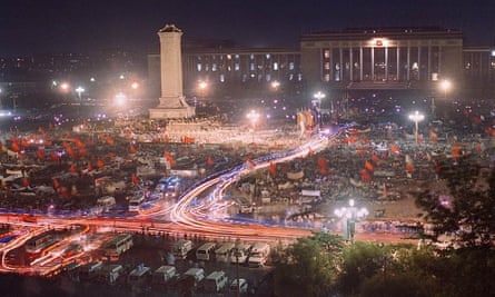 View of Tiananmen Square during the student protest of 1989. 'This photograph confirms that his moment in history did take place; it had a past and a future.'