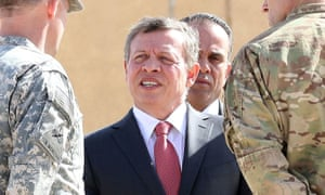 King Abdullah at a joint military training centre in Zarqa, north-east Jordan