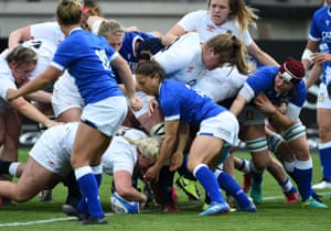 Bryony Cleall of England scores their seventh try.