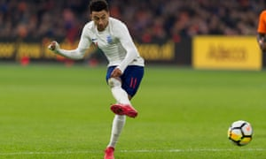 Jesse Lingard guides his shot home to give England the lead against the Netherlands.