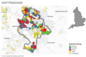 Mapping gentrification in Nottingham. Graphic by Alasdair Rae/Joseph Rowntree Foundation