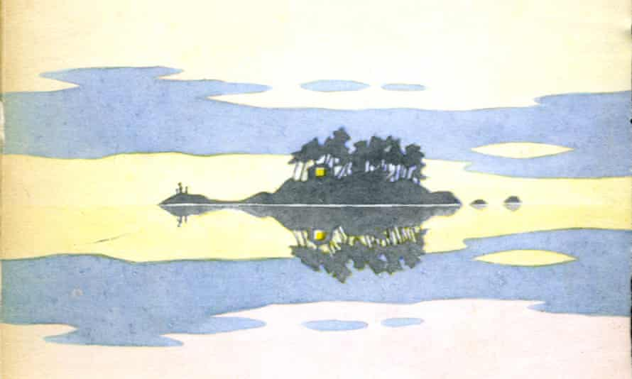 A painting by Tove Jansson for The Summer Book, a story about a family's stay on a tiny Finnish island.