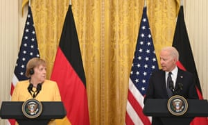 Joe Biden and German Chancellor Angela Merkel hold a joint press conference in the East Room of the White House.