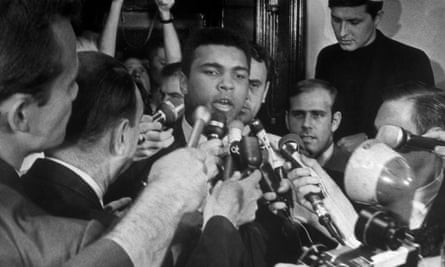 Muhammad Ali at a press conference about Vietnam in 1967.