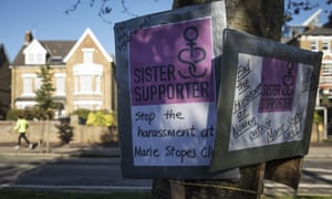 Sister Supporter signs outside the Marie Stopes clinic in Ealing.