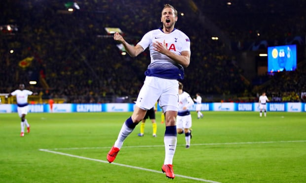 Harry Kane celebrates his goal against Borussia Dortmund as Tottenham progressed to the Champions League quarter-finals.