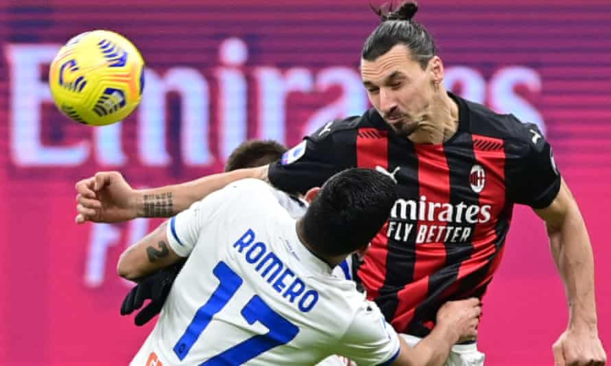 Milan's Zlatan Ibrahimovic challenges Cristian Romero during Atalanta's 3-0 win