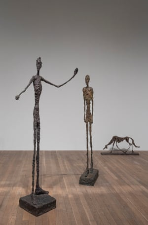 Giacometti's Man Pointing and Walking Man, both 1947, with the 'fugitive' Dog, 1951 at Tate Modern.