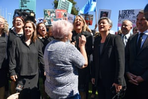 Deputy leader of the opposition, Richard Marles (right), Opposition leader Anthony Albanese (second right) attended the rally along with Labor senators Kristina Keneally (centre) and Penny Wong.