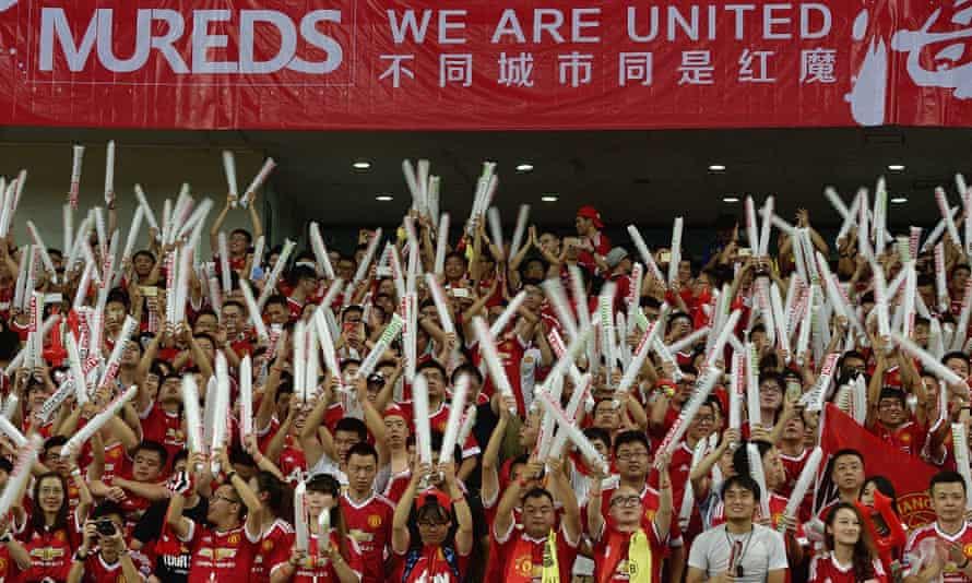 Manchester United fans in Shanghai for an International Champions Cup pre-season match against Borussia Dortmund.