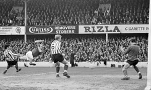 Bobby Charlton scores one of his of 249 Manchester United goals, against Southampton in April 1968