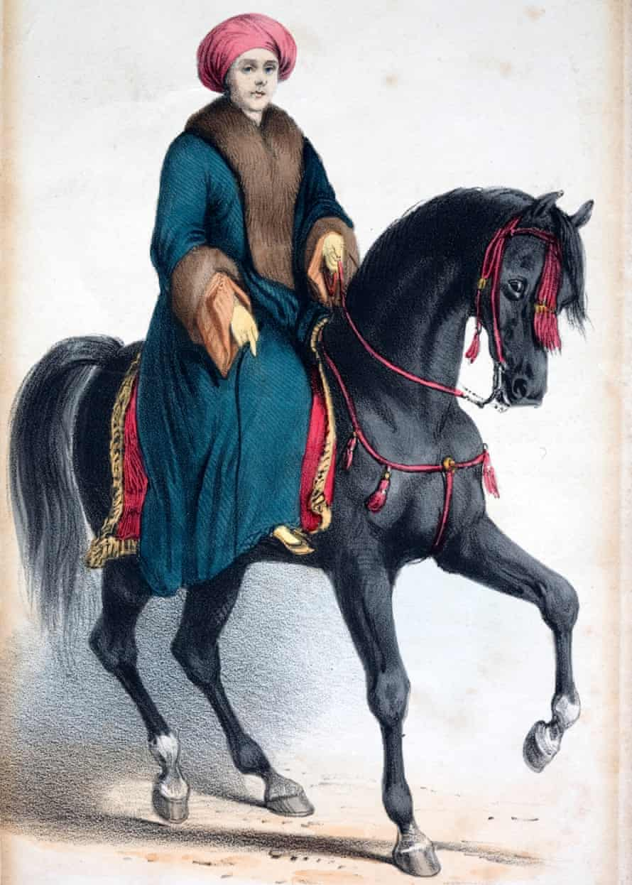 Painting of Lady Hester on a black horse with fur-trimmed coat and turban