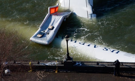 US Airways flight 1549 floats in the Hudson River