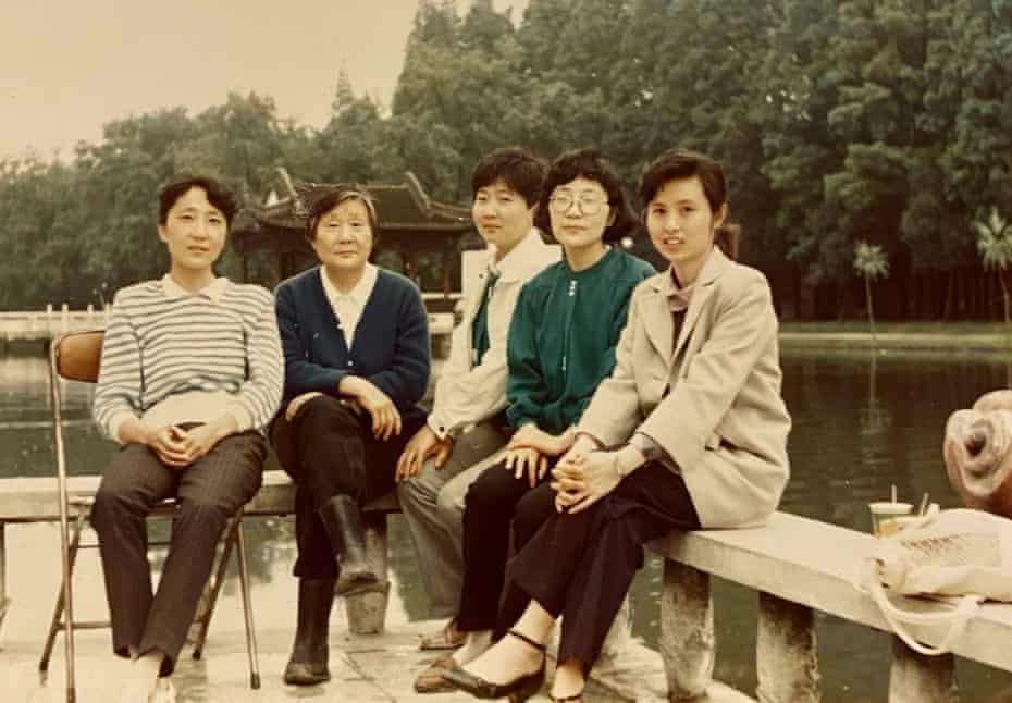 Angela's aunts, grandmother (second left) and mother (right) in Hefei around 1990.