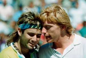 Andre Agassi (left) and Boris Becker at the US Open in 1990.