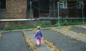 a small girl on a tatty estate