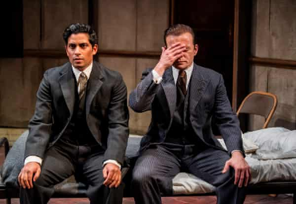Shane Zaza and Alec Newman in The Dumb Waiter at the Hampstead theatre.