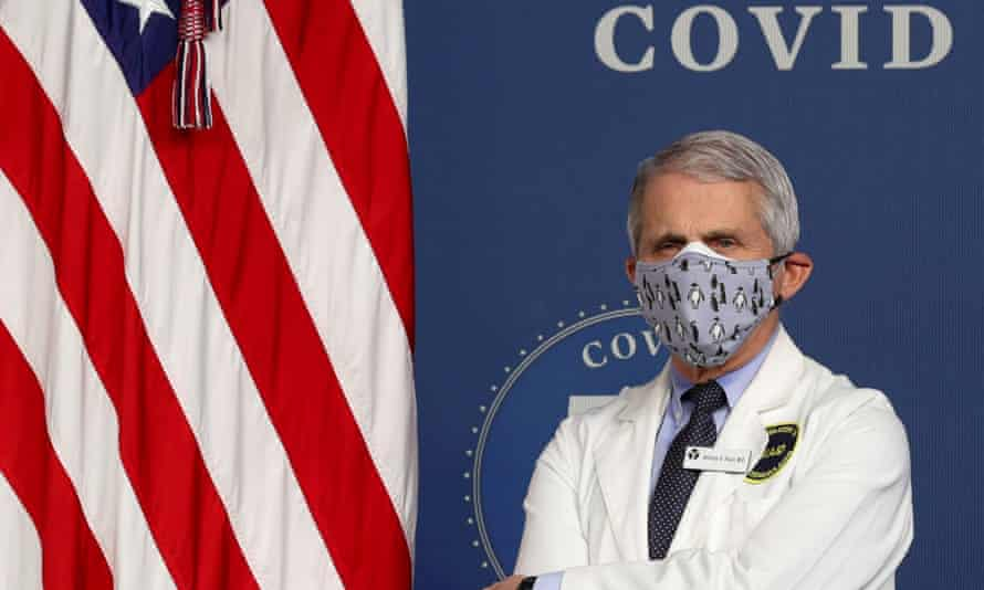 Dr Anthony Fauci stands by during an event to mark 50m coronavirus vaccinations.