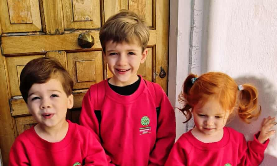 Ellie Bell's three children earlier this month before returning to school.