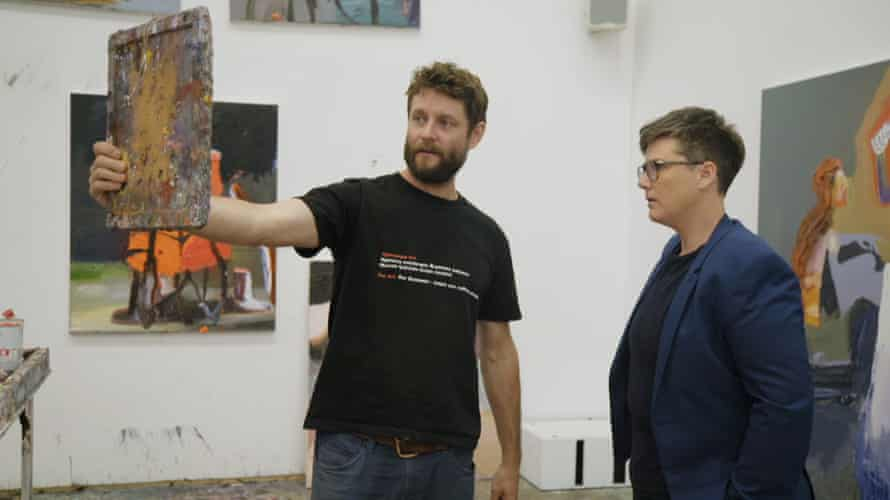 Artist Ben Quilty with Hannah Gadsby in her new ABC documentary series, Nakedy Nudes.