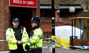 Police in Salisbury after the Skripal poisonings