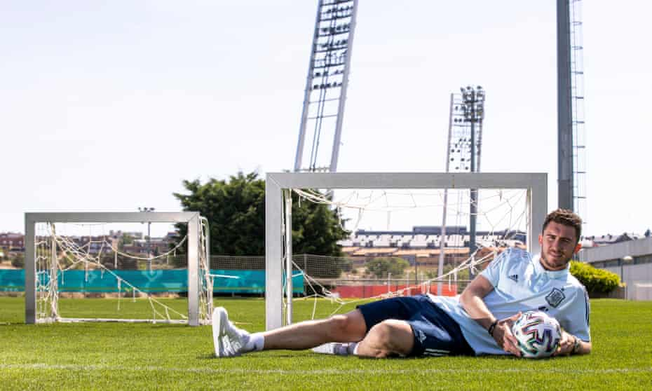 Aymeric Laporte at Spain's training ground. 'They welcomed me from the start,' he says of his new teammates.