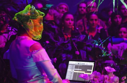 Björk performs a DJ set for adoring fans during Björk Digital opening night at Carriageworks on 3 June.