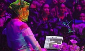 Not welcome in Cali ... Bjork DJs with her laptop in Sydney.