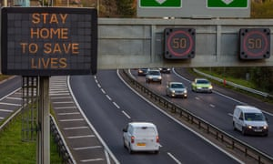 """Road signs reminding travellers to """"Stay Home To Save Lives"""" in Cardiff, Wales. It is the second week of Wales' """"firebreak"""" lockdown, in which """"non-essential"""" businesses were ordered shut until 9 November and parts of Wales have become the highest infected areas in the UK."""