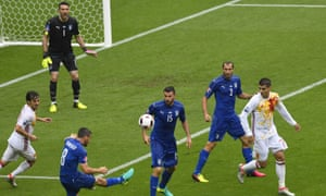 Morata (far right) playing against his 'father figure' at Juventus, Gianluigi Buffon (second left) at Euro 2016)