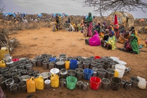 People wait for food and water in eastern Ethiopia, 28 January