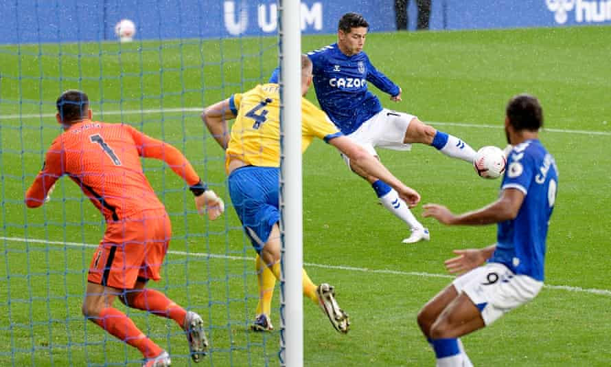 James Rodríguez scores one of his two goals for Everton against Brighton last October.