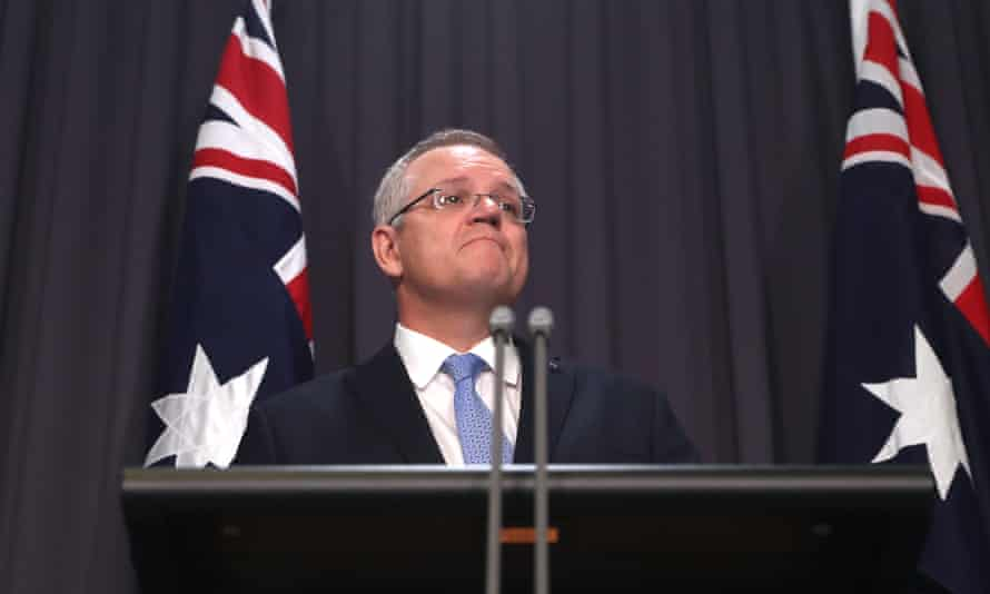 Prime minister Scott Morrison at a press conference in the blue room of parliament house