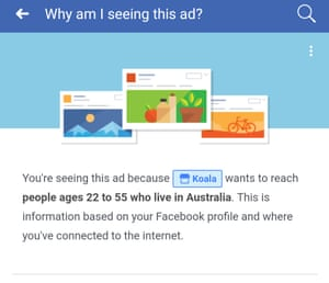 Screenshot from the Facebook app showing ad targeting information