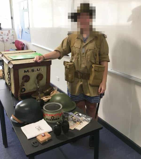 A student with military memorabilia