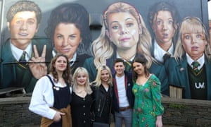 Louisa Harland, Nicola Coughlan, Saoirse-Monica Jackson, Dylan Llewellyn and Jamie-Lee O'Donnell visit their mural in Derry