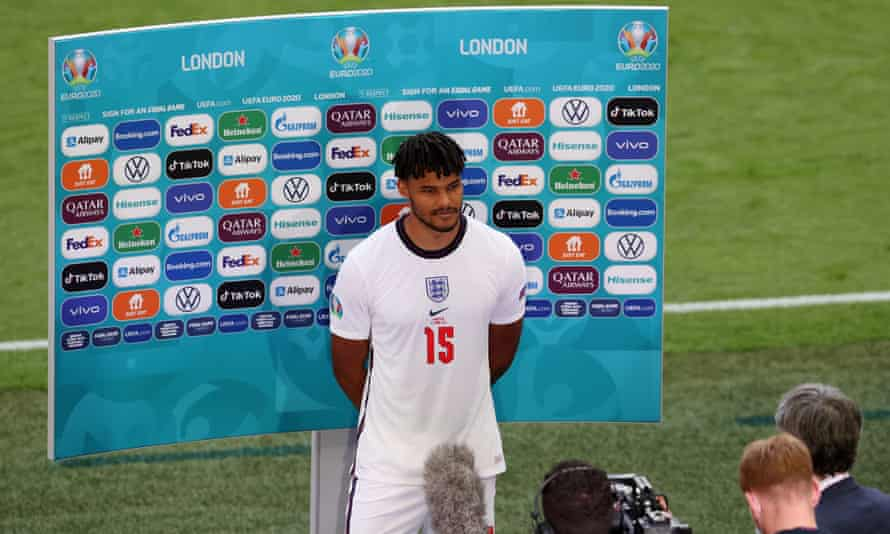 Tyrone Mings during a TV interview on 13 June when England faced Croatia at Wembley
