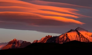 Clouds at sunrise over Torres del Paine national park