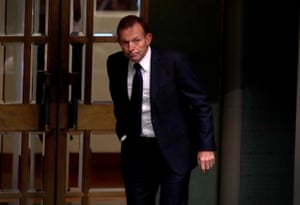 Tony Abbott leaves the chamber but not the house.