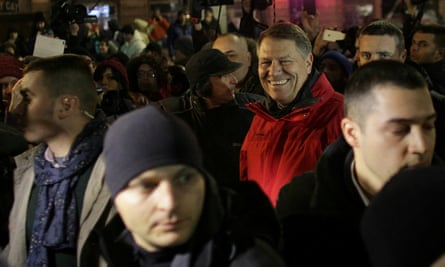 Klaus Iohannis joins the protest in Bucharest.