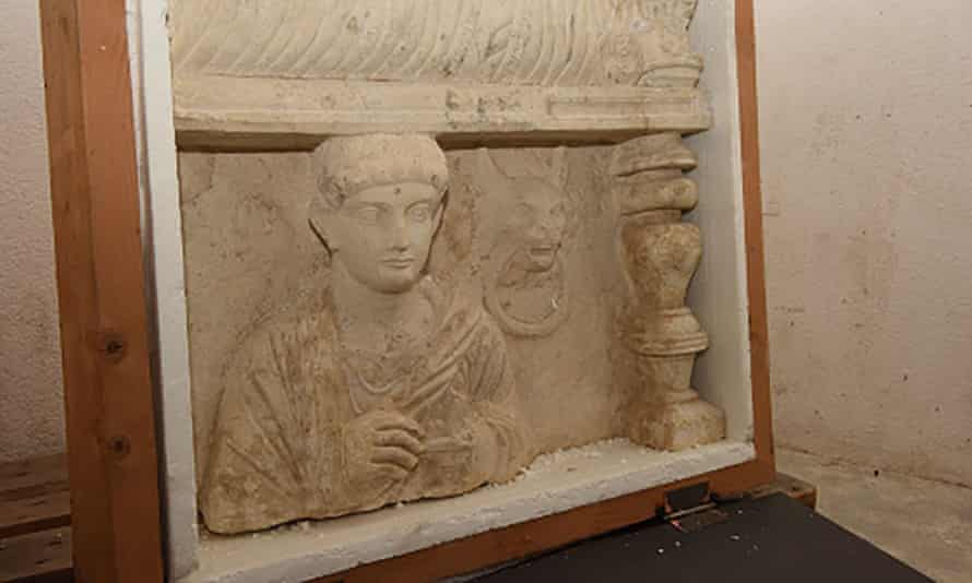 A funeral bas-relief from Palmyra in Syria discovered during a custom control on April 2013 in the free ports of Geneva.