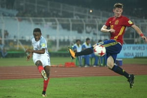 Steven Sessegnon of England and Sergio Gomez of Spain in action England v Spain, FIFA U-17 World Cup India 2017 Final in Kolkata, India.
