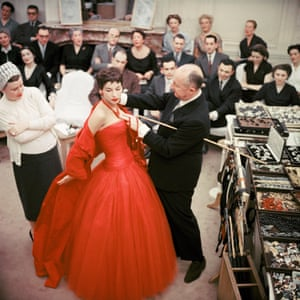 """Christian Dior with fashion model Victoire wearing the """"Zaire"""" dress (Autumn-Winter Haute Couture collection, H line) 1954 © 2013 Mark Shaw"""